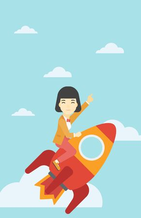 forefinger: An asian business woman flying on the business start up rocket and pointing forefinger up. Successful business start up concept. Vector flat design illustration. Vertical layout.