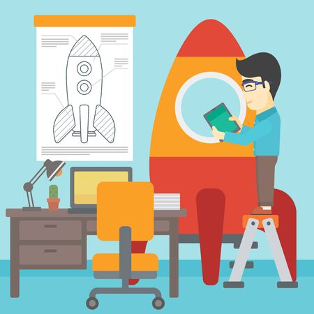 rocket man: An asian man standing on ladder and engeneering a rocket. Man working on the start up of a new business. Business start up concept. Vector flat design illustration. Square layout.
