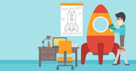 rocket man: An asian man standing on ladder and engeneering a rocket. Man working on the start up of a new business. Business start up concept. Vector flat design illustration. Horizontal layout. Illustration
