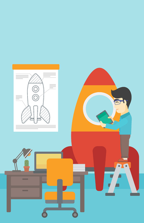rocket man: An asian man standing on ladder and engeneering a rocket. Man working on the start up of a new business. Business start up concept. Vector flat design illustration. Vertical layout.