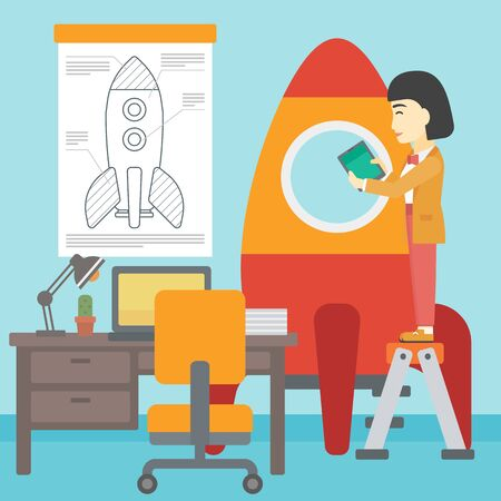 engeneering: An asian  woman standing on ladder and engeneering a rocket. Woman working on the start up of a new business. Business start up concept. Vector flat design illustration. Square layout.
