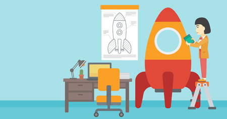 engeneering: An asian  woman standing on ladder and engeneering a rocket. Woman working on the start up of a new business. Business start up concept. Vector flat design illustration. Horizontal layout.