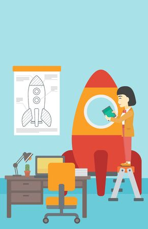 engeneering: An asian  woman standing on ladder and engeneering a rocket. Woman working on the start up of a new business. Business start up concept. Vector flat design illustration. Vertical layout.