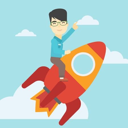 asian businessman: An asian businessman flying on the business start up rocket and pointing his forefinger up. Successful business start up concept. Vector flat design illustration. Square layout.