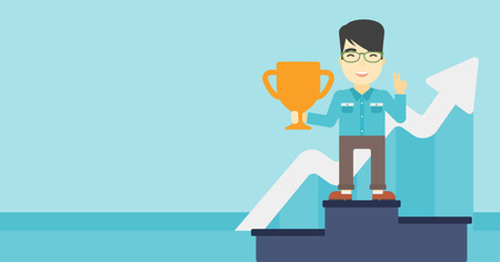 An asian businessman standing on a pedestal with winner cup. Businessman celebrating his business award. Business award concept. Vector flat design illustration. Horizontal layout.