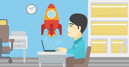 An asian young businessman sitting at the table and looking at a business start up rocket taking off. Business start up concept. Vector flat design illustration. Horizontal layout. Illustration