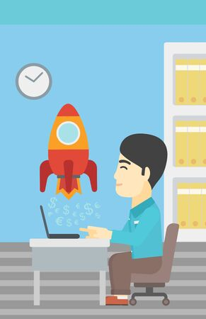 An asian young businessman sitting at the table and looking at a business start up rocket taking off. Business start up concept. Vector flat design illustration. Vertical layout.