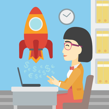 An asian young business woman sitting at the table and looking at a business start up rocket taking off. Business start up concept. Vector flat design illustration. Square layout. Illustration