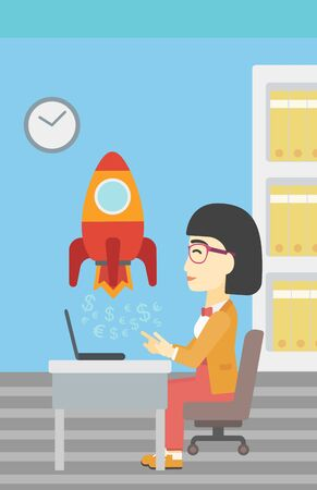 woman looking up: An asian young business woman sitting at the table and looking at a business start up rocket taking off. Business start up concept. Vector flat design illustration. Vertical layout.