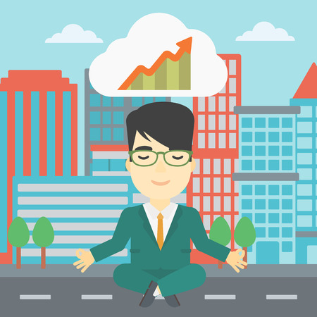 lotus pose: An asian businessman with eyes closed doing yoga outdoor. Businessman thinking about the growth graph and meditating in lotus pose on a city background. Vector flat design illustration. Square layout. Illustration