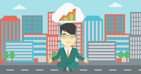 lotus pose: An asian businessman with eyes closed doing yoga. Businessman thinking about the growth graph and meditating in lotus pose on a city background. Vector flat design illustration. Horizontal layout.