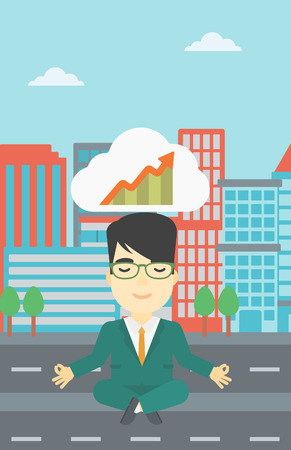 lotus pose: An asian businessman with eyes closed doing yoga. Businessman thinking about the growth graph and meditating in lotus pose on a city background. Vector flat design illustration. Vertical layout.