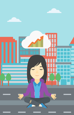lotus pose: Asian business woman with eyes closed doing yoga. Woman thinking about the growth graph and meditating in lotus pose. Vector flat design illustration. Vector flat design illustration. Vertical layout. Illustration