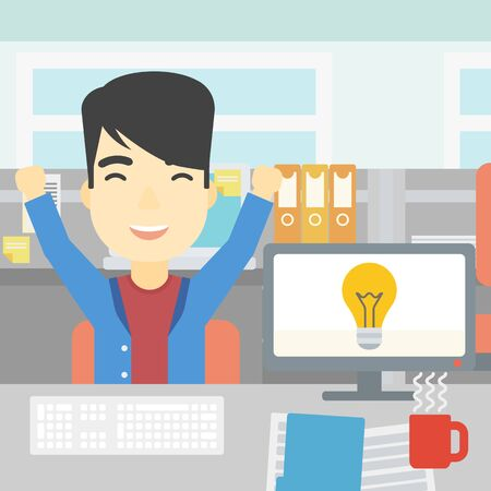 An asian businessman with arms up having a business idea. Young man working on a computer with a business idea bulb on a screen. Business idea concept. Vector flat design illustration. Square layout.