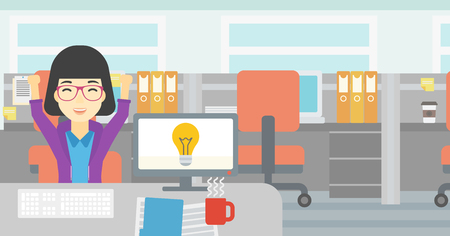 asian business woman: An asian business woman with arms up having business idea. Woman working on a computer with business idea bulb on a screen. Business idea concept. Vector flat design illustration. Horizontal layout.
