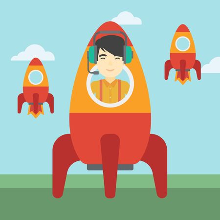 asian businessman: An asian businessman in headphones flying in the rocket. Successful business start up concept. Business rocket taking off. Vector flat design illustration. Square layout.