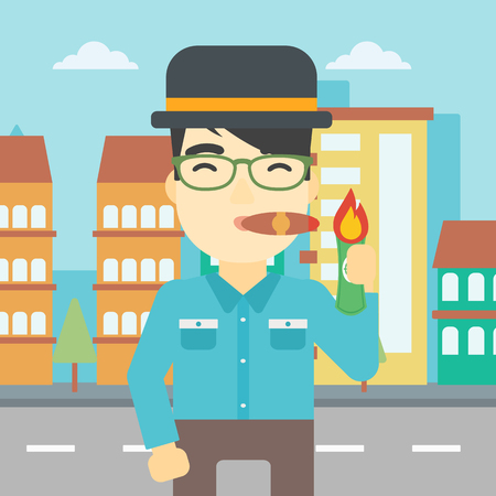 smoking a cigar: An asian businessman lighting a cigar with dollar bill. A successful businessman smoking a cigar on the background of modern city. Vector flat design illustration. Square layout. Illustration