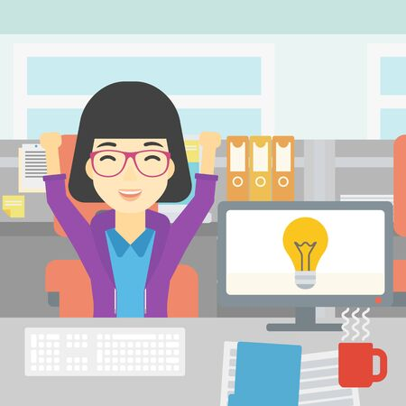 An asian business woman with arms up having business idea. Woman working on a computer with business idea bulb on a screen. Business idea concept. Vector flat design illustration. Square layout. Ilustracja