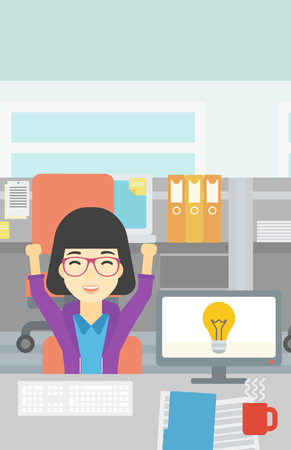 woman arms up: An asian business woman with arms up having business idea. Woman working on a computer with business idea bulb on a screen. Business idea concept. Vector flat design illustration. Vertical layout.