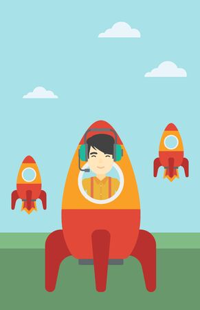 An asian businessman in headphones flying in the rocket. Successful business start up concept. Business rocket taking off. Vector flat design illustration. Vertical layout.