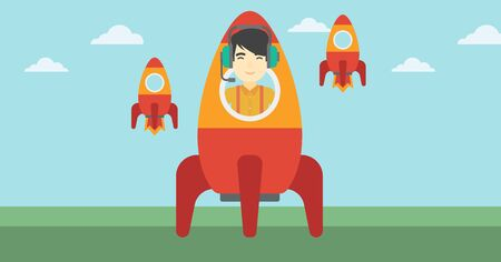 asian businessman: An asian businessman in headphones flying in the rocket. Successful business start up concept. Business rocket taking off. Vector flat design illustration. Horizontal layout.