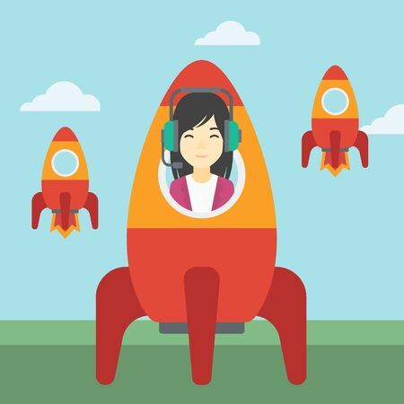 asian business: An asian business woman in headphones flying in the rocket. Successful business start up concept. Business rocket taking off. Vector flat design illustration. Square layout.