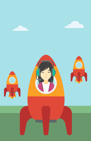 asian business: An asian business woman in headphones flying in the rocket. Successful business start up concept. Business rocket taking off. Vector flat design illustration. Vertical layout. Illustration