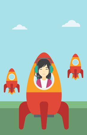 asian business woman: An asian business woman in headphones flying in the rocket. Successful business start up concept. Business rocket taking off. Vector flat design illustration. Vertical layout. Illustration