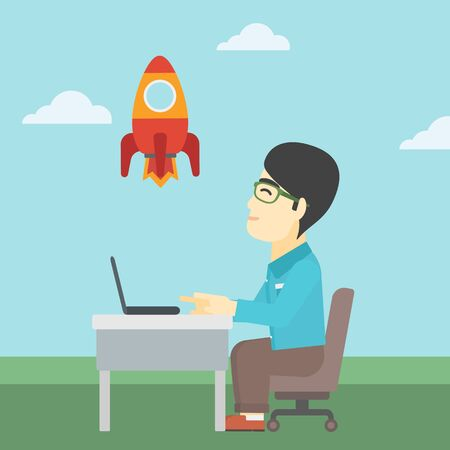 An asian young businessman sitting at the table and looking at a flying rocket. Businessman working on a laptop. Business start up concept. Vector flat design illustration. Square layout. Illustration