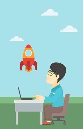 An asian young businessman sitting at the table and looking at a flying rocket. Businessman working on a laptop. Business start up concept. Vector flat design illustration. Vertical layout. 向量圖像