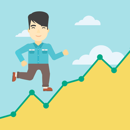 moving up: An asian young businessman running along the growth graph. Businessman going up. Happy businessman moving up. Successful business concept. Vector flat design illustration. Square layout.
