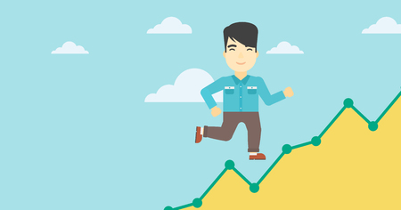 moving up: An asian young businessman running along the growth graph. Businessman going up. Happy businessman moving up. Successful business concept. Vector flat design illustration. Horizontal layout.