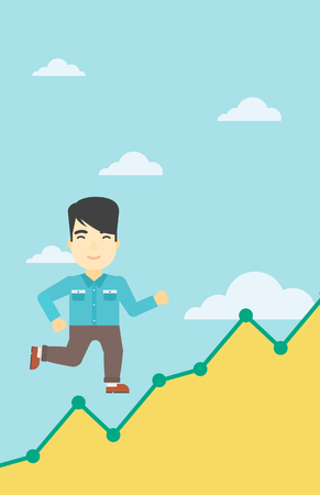 businessman running: An asian young businessman running along the growth graph. Businessman going up. Happy businessman moving up. Successful business concept. Vector flat design illustration. Vertical layout.