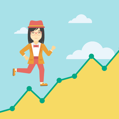 asian business: An asian young business woman running along the growth graph. Business woman going up. Happy business woman moving up. Successful business concept. Vector flat design illustration. Square layout.