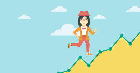 moving up: An asian young business woman running along the growth graph. Business woman going up. Happy business woman moving up. Successful business concept. Vector flat design illustration. Horizontal layout.