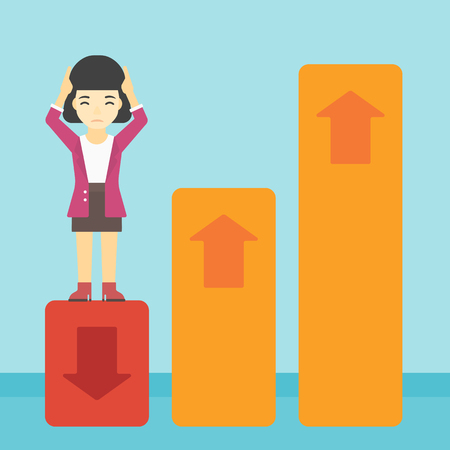 going down: An asian business woman clutching her head. Bankrupt standing on chart going down. Concept of business bankruptcy. Vector flat design illustration. Square layout.
