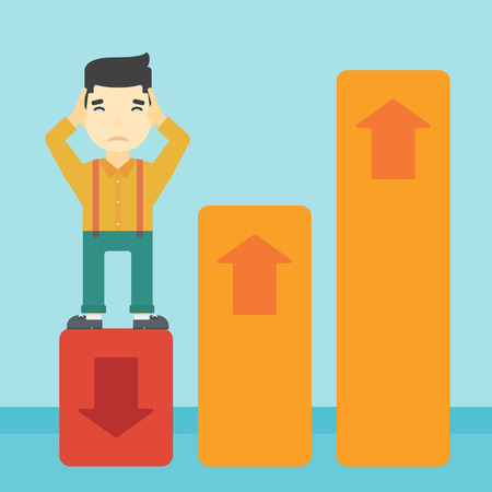 market bottom: An asian bankrupt clutching his head. Businessman standing on chart going down. Concept of business bankruptcy. Vector flat design illustration. Square layout.