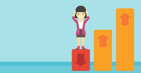 market bottom: An asian business woman clutching her head. Bankrupt standing on chart going down. Concept of business bankruptcy. Vector flat design illustration. Horizontal layout. Illustration