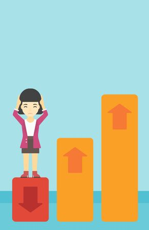 An asian business woman clutching her head. Bankrupt standing on chart going down. Concept of business bankruptcy. Vector flat design illustration. Vertical layout.