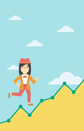 asian business: An asian young business woman running along the growth graph. Business woman going up. Happy business woman moving up. Successful business concept. Vector flat design illustration. Vertical layout. Illustration