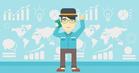 good news: An asian happy businessman getting good news on mobile phone on the background of growth charts and map. Business success concept. Vector flat design illustration. Horizontal layout. Illustration
