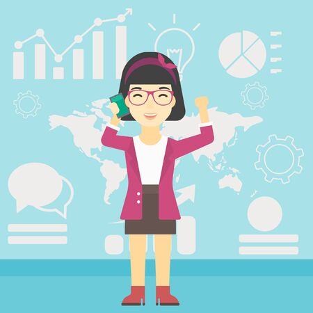 good news: An asian happy business woman getting good news on mobile phone on the background of growth charts and map. Business success concept. Vector flat design illustration. Square layout.