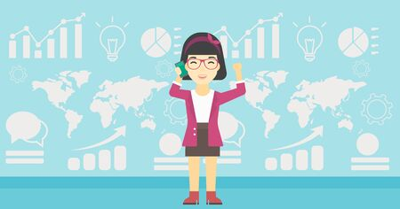 good news: An asian happy business woman getting good news on mobile phone on the background of growth charts and map. Business success concept. Vector flat design illustration. Horizontal layout.