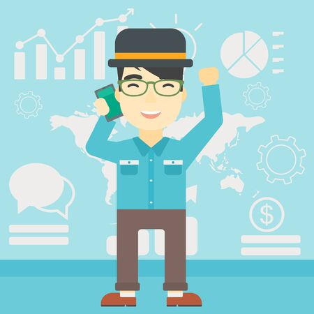 good news: An asian happy businessman getting good news on mobile phone on the background of growth charts and map. Business success concept. Vector flat design illustration. Square layout.