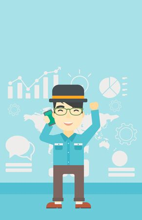 good news: An asian happy businessman getting good news on mobile phone on the background of growth charts and map. Business success concept. Vector flat design illustration. Vertical layout.