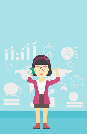 good news: An asian happy business woman getting good news on mobile phone on the background of growth charts and map. Business success concept. Vector flat design illustration. Vertical layout. Illustration
