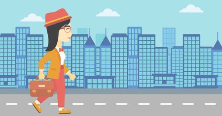 young business woman: An asian young business woman walking with a briefcase. Business woman walking down the street. Vector flat design illustration. Horizontal layout. Illustration