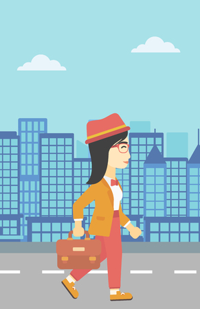An asian young business woman walking with a briefcase. Business woman walking down the street. Vector flat design illustration. Vertical layout.