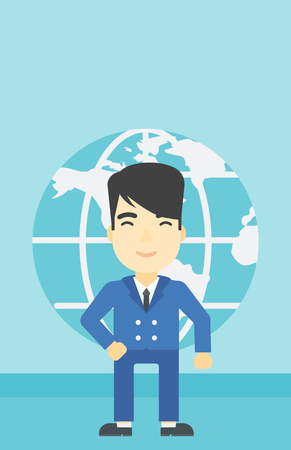 asian business: An asian businessman standing on background of Earth globe. Business man taking part in global business. Global business concept. Vector flat design illustration. Vertical layout. Illustration