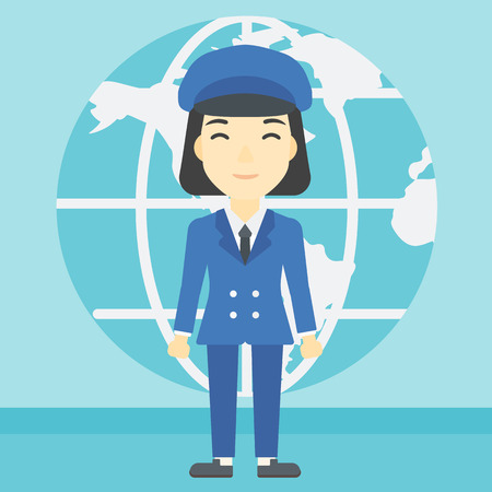 asian business: An asian business woman standing on a background of Earth globe. Business woman taking part in global business. Global business concept. Vector flat design illustration. Square layout.
